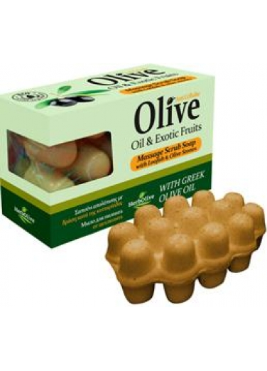 Massage Soap Anti Cellulite with Olive Oil, Exotic Fruits & Loofah 100gr