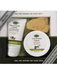 Gift Set Hand and Body Cream Argan 75ml - Foot cream Olive Oil 75ml - Natural Sponge