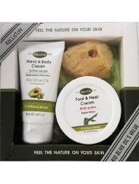 Gift Set Hand and Body Cream Avocado 75ml - Foot cream 75ml -Natural Sponge