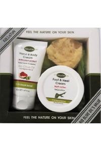 Gift Set Hand and Body Cream Pomegranate 75ml - Foot cream 75ml - Natural Sponge